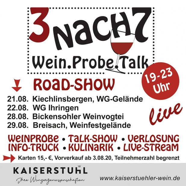 Road-Show - 3 nach 7, Wein.Probe.Talk